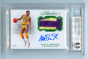 2018 FLAWLESS HORIZONTAL AUTO PATCH EMERALD MAGIC JOHNSON /5 BGS 8.5 SICK POP 1