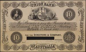 Union Bank of Australia (Nelson) 1882 10 Pound Unissued Printer's Proof P# S.358