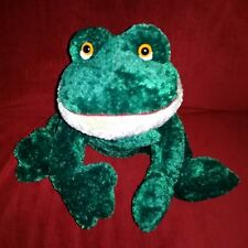 Russ Berrie FRIGGLES Green Soft 16in Plush Large Frog with Hang Tag Cream Chin