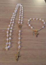 Catholic Crystal Clear Rosary Beads & Rosary Bracelet Set, Handmade