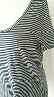 L.K.BENNETT UK 14 /16 L Ladies top blouse grey pin stripes casual everyday