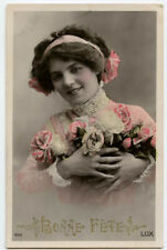 c 1910 Glamour Pretty FRENCH ROSE BEAUTY Lady Vintage photo postcard