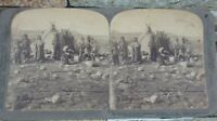 Old Antique Stereoview Photo Underwood Inuit Eskimo in Front of Toupik Greenland