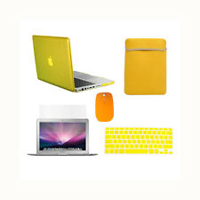 "5in1 Crystal YELLOW Case for Macbook PRO 13"" + Keyboard Cover + LCD + Bag +Mouse"
