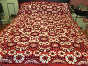 Vintage 60's 70's Bedspread Single Bed Red White Blue Floral Pattern Fringe Edge