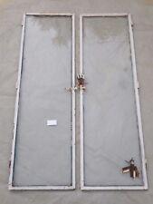 105 X 32 cm - Paire d'anciens verres de porte d'entrée en cadre fer