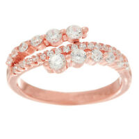 Diamonique Graduated Asymmetrical 14K Rose Clad Sterling Silver Ring Size 9 QVC