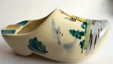 RARE Vintage Delft Holland Hand Painted Windmill Shoe Clog Ashtray Gold Trim