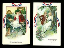Love Couple postcard SET OF 4 Patriotic Bow border Fond Memories Series #246