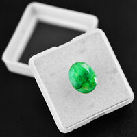 Amazing 3.45 Cts Earth Mined Ring Size Rich Green Emerald Oval Faceted Gemstone