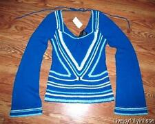 ARDEN B ~ Size M ~ Blue Chevron OPEM KNIT Bell Sleeve Square Neck BOHO Sweater