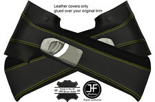 YELLOW STITCHING 2X UPPER B PILLAR LEATHER COVERS FITS VW T4 MULTIVAN BUS