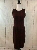 CALVIN KLEIN Sheath Dress Black Red Print Sleeveless Stretch Size 4