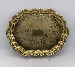Vintage Etched Solid Brass 14 Inch Serving Platter Tray