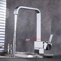 Modern Square Victorian Chrome Kitchen Sink / Bathroom Basin Mixer Tap - (L11)