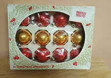 Vintage Shiny Brite set of 12 Glass Christmas Tree Ornaments Red and Gold