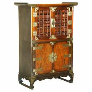 DECORATIVE ORIENTAL SIDEBOARD CABINET OVERSIZED METAL FITTINGS & SMALL DRAWERS