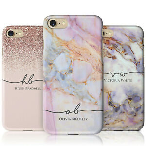 Personalised Marble Phone Case with Name and Flowing Initials for iPhone Models