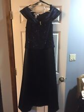 PATRA NAVY SILVER FLECK TOP STRETCHY WITH NAVY BOTTOM SILK LIKE GOWN 16 NWOT