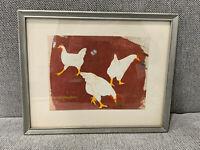 Vtg Paula Algminowicz Chicago Illinois Artist Signed Batik Art w/ Three Chickens