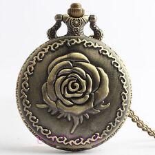 Antique Copper Rose Quartz Pocket Watch Necklace Chain
