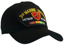 3rd Marine Division Vietnam Veteran Hat Black Ball Cap USMC Marine Corps Vietnam