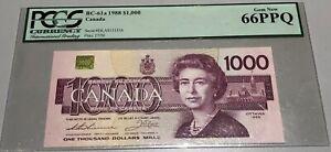 1988 Bank of Canada $1000 - PCGS Gem New 66PPQ - Rare - S/N: EKA0131516