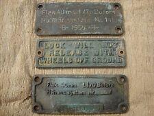 Vintage Lot of Bronze Data Plates