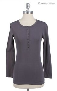 Half Button Long Sleeve Pull Over Henley Cotton Top Tee Plain Basic S M L