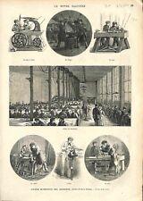 Atelier de Serrurerie Scie à Ruban Forge le Tour Rabot étau Paris GRAVURE 1874