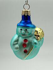 New ListingGlass Blue Snowman Christmas Tree Ornament ~ Germany