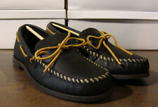MINNETONKA CAMP LEATHER MOCCASINS - BLACK - MENS 9