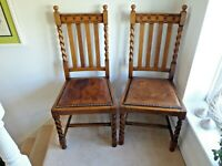 Pair of Antique Carved Oak Dining Chairs With Barleytwist Front Legs & Rear Seat
