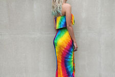 New Rainbow Tie Dye Boob Tube Frill 3/4 Mid Maxi Dress Summer Bright Hippie Boho