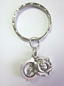 Miraculous Medal Locket Style Rose Slide Key Ring Gift Box & Prayer Card