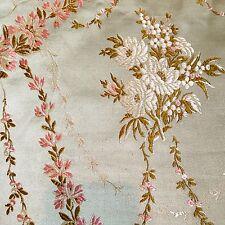 Antique Vintage French Silk Damask Poppy Brocade Fabric~Pillows Dolls