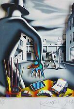 """Mark Kostabi """" Rapide sur Cordons """" 3d Construction Signé à la Main Art Urbain"""