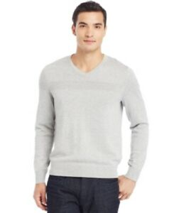 Kenneth Cole Men's Sweater Sz XXL Heather Grey Cotton Blend V-Neck Pullover