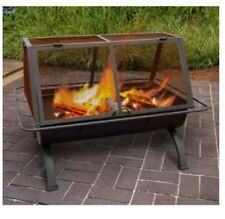 Rectangle Fire Pit Northwoods 35 in. Outdoor Backyard Porch Deck Patio Wood Home
