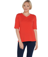 Denim & Co. Women's Essentials V-Neck Elbow-Sleeve Rib Top (Red, S) A307546