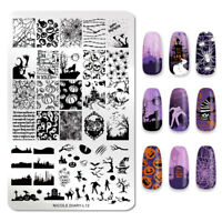 NICOLE DIARY Nail Stamping Plate Halloween Image Nail Art Templates Tools L12