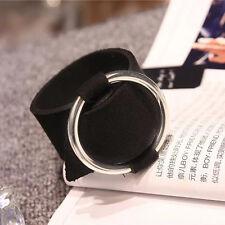 Women Punk Black Sliver Hoop Velet Cloth Bracelet Cuff Bangle Wrist Wrap Jewelry