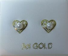 White Cultured pearl in 9ct Yellow gold heart stud earrings