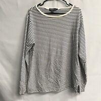 🌴Ralph Lauren Women's Long Sleeve Round Neck T-Shirt Large L Striped🌴Free Ship