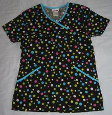 Women's ScrubStar Scrub Top XS Mock Wrap Black Neon Polka Dots Ladies Scrub Star