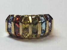 Estate Cocktail Ring 925 Silver Multi Color 6.46g Gem Stone Radiant Vintage rare