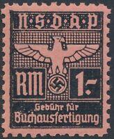 Stamp Germany Revenue WWII Fascism War Era Buchaustertigun 1RM MNH