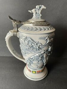 Avon Stein 1992 Winners Circle Horse Racing Stein Crafted in Brazil Beautiful!
