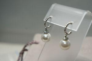 David Yurman 925 Silver PEARL Solari Diamond Drop 585 Post Dangle Earrings Pouch
