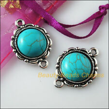 2 New Retro Charms Tibetan Silver Turquoise Flower Pendants Connectors 19x25.5mm